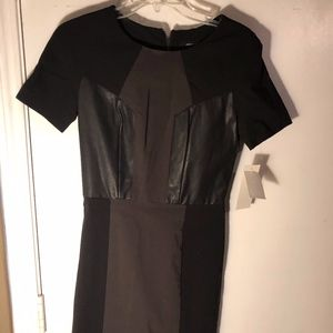 French Connection Mini Leather Accent Dress